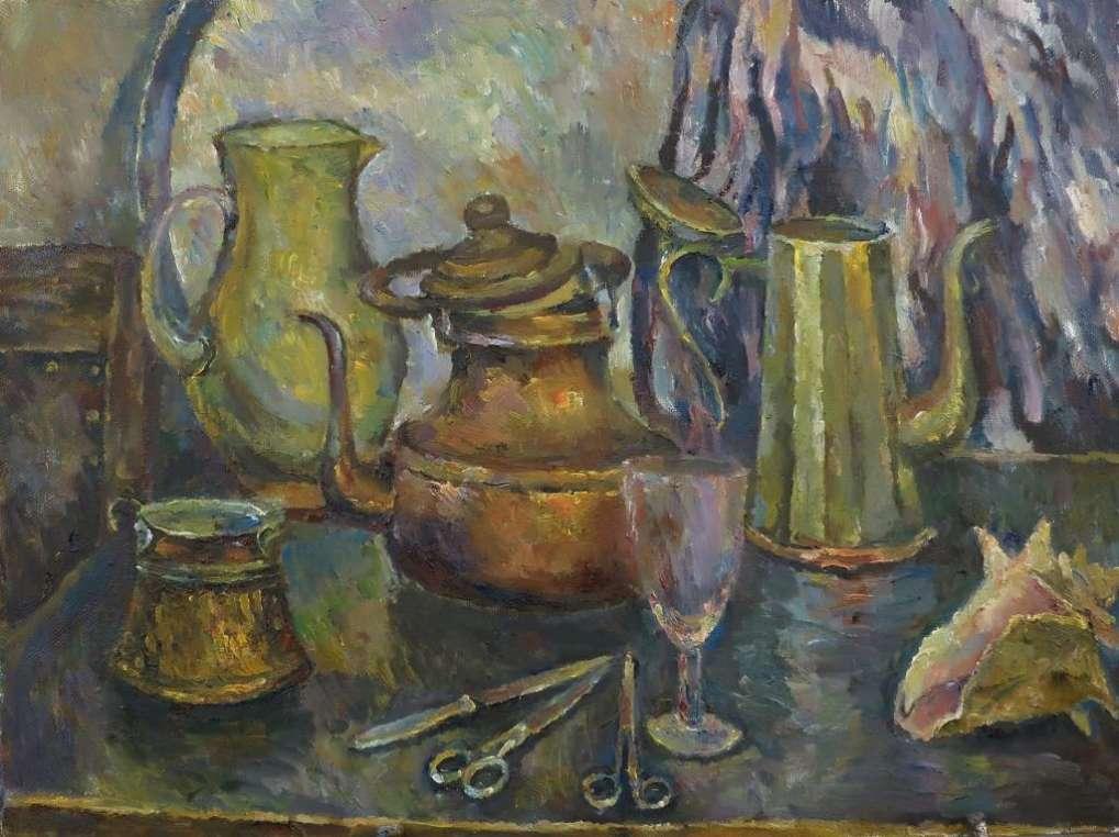 Натюрморт с медным чайником. 2015. x.м. 70х80