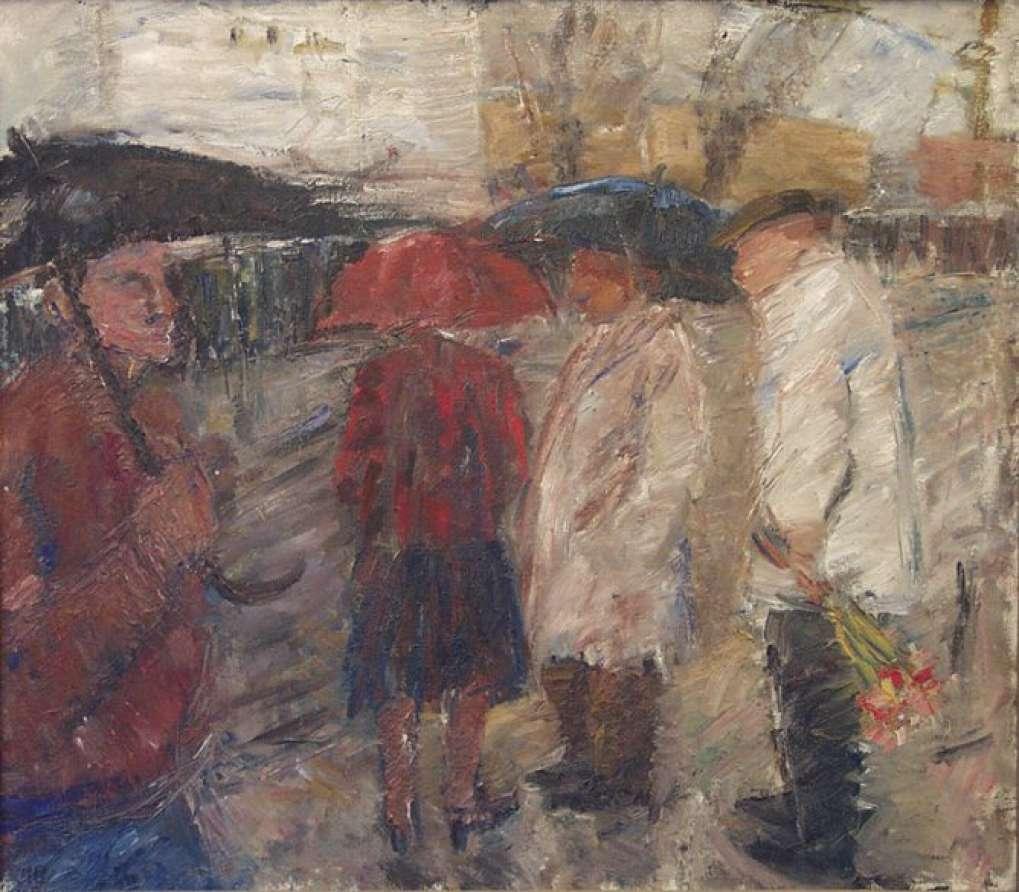 На остановке. 1991. x.м. 70х80